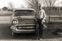 New Mexico Cowboy with new '57 Chevy (newmexico51) Tags: old man newmexico chevrolet hat century vintage found photo route66 cowboy photograph 1957 nm 20th moiarity