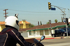 seen on the road today (dogwelder) Tags: california film may zurbulon6 2009 northhollywood helmetcam 50mmprime olympusom4ti zurbulon motorcyclehelmetcamera