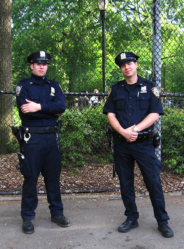 Police Officers in Tompkins Park, wearing Dark Blue: