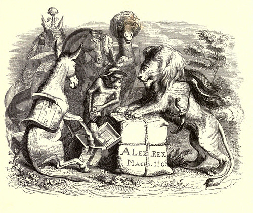 019- Tributo enviado por los animales a Alejandro Magno-Fabulas La Fontaine-J.Grandville