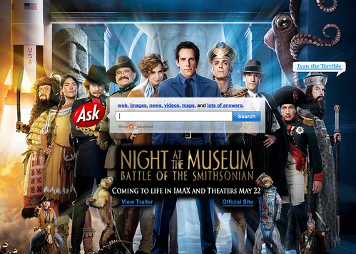 Ask.com Full Home Page Skin Ads