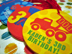 kaden's 3rd bday - favor hang tags