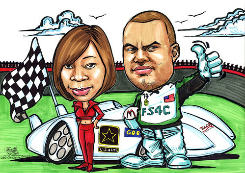 Couple caricatuers speed racer