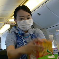 All About the Eyes (Danburg Murmur) Tags: airplane ana cabin hand mask bottledwater apron exit stewardess airborne facemask flightattendant overheadbin allnipponairways airjapan  zennipponkyu naturalgeyser