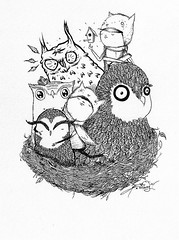 Owl Gathering (eight bit) Tags: street art illustration pen ink paper graffiti design graphic mr nest drawing hats birdhouse 8 crew dp 8bit fortress tasha bit eight owls mitten dipping ghostpatrol eightbit mrgauky gauky txlw sandwichesandsunnydays ireckonweshouldsubmitthistothreadless