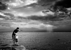 there BW (anthonyserafin) Tags: blue sea beach canon father son fatherandson platinumphoto 5dmk2 anthonyserafin