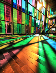 Montreal Rainbow (` Toshio ') Tags: city blue canada color green glass yellow stairs rainbow colorful cityscape montreal interior indoor stainedglass canadian stairway conventioncenter conferencecenter toshio palaisdecongrs