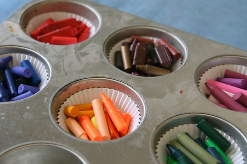 Crayons ready to go into the oven by Stupendous Joy