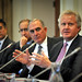 GE CEO Jeffrey Immelt (r) addresses a point in the panel discussion.