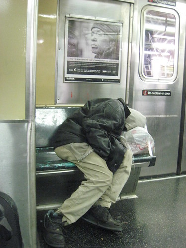 Homeless on NY Subway
