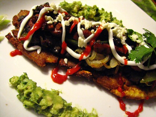 Patacones with Guacamole and Morcilla/Chorizo/Black Beans