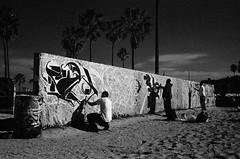 the pit. venice beach, ca. 2007. (eyetwist) Tags: california venice bw white black art beach monochrome contrast 35mm palms graffiti mono la blackwhite losangeles los sand nikon pacific angeles kodak graf ishootfilm pacificocean socal writers venicebeach mf spraypaint walls nikkor aerosol southland estar westla 2007 redfilter thepit 90291 recon angeleno r60 hc110b eyetwist f3t aerecon ishoot labw 2850mmf35ais artwalls nikontitanium h2screen eyetwistkevinballuff kodakplusxaereconii thinbase homesoup