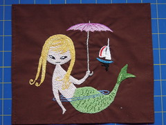 Mermaid (BrianinLR) Tags: pink boat stitch handmade embroidery retro blonde mermaid needlecraft pinkumbrella