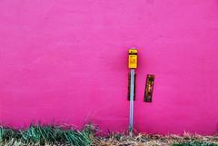 Telstra sign and a pink wall (Janet Leadbeater) Tags: pink holiday color colour grass sign wall bay rusty australia victoria telstra morningtonpeninsula brackets portphillip somewherenearrye