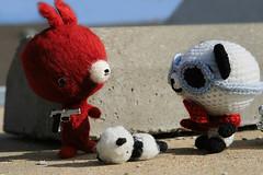 "Grand Theft Auto 3 of 4 - ""Hand over the keys!"" (TADA's Revolution) Tags: car panda handmade crochet craft plush softie fox stuffedanimal kawaii amigurumi diorama crafting stuffie"