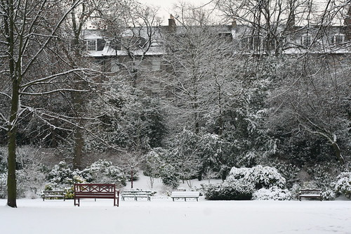 The powdery snow in Queen Street Gardens makes this secluded place even more magical.