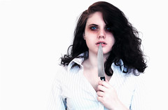 Stress (Fluffy elephants) Tags: blue white shirt female silver eyes exposure bright knife tired blade stress curlyhair sweenytodd