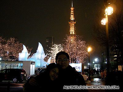 Rachel and I, beneath a TV tower