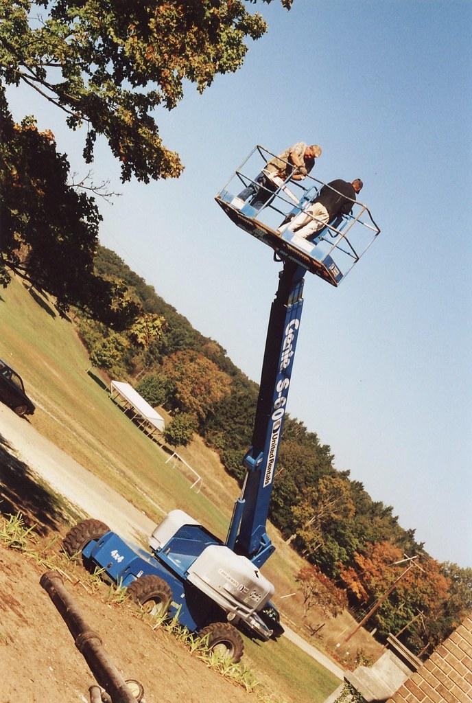 Dad On A Tree Bucket Truck Lift - Felt Mansion Volunteer, Saugatuck, Michigan - 2003