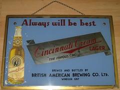 Cincinnati Cream Sign (ThriftyRicky) Tags: beer brewing american windsor british waiter cinci handsom breweriana