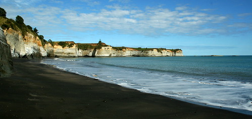View on a black sand beach, marine reserve, around Taranaki - New Zealand