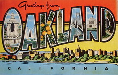 Greetings from Oakland California postcard (Smaddy) Tags: sanfrancisco california ca bridge race court oakland university yacht linen postcard campanile redwood oranges alameda kropp greetingsfrom largeletter gilboyagency