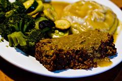 Lentil and Nut Loaf with Gravy (LollyKnit) Tags: food dinner vegan vegetarian lentils