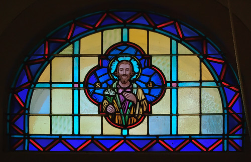 Saint Joseph Church, in Meppen, Illinois, USA - stained glass window of Saint Joseph