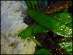 "asian ""beef"" with snow peas and rice"