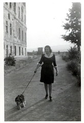 Ostrom utn. (elinor04) Tags: family dog fashion vintage puppy hungary snapshot budapest mother style 1940s younggirl castledistrict ruinous afterww2 vintagefamilyphotocollection elinorsvintagefamilyphotocollection hungariancollection