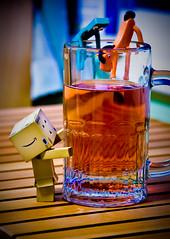 Danbo gets some help (Stacey~) Tags: beer robot drink cider help cardboard mug pokey gumby danbo revoltech danboard