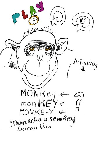 Black And White Monkey Drawing. The monkey was sketched with