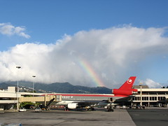 Northwest Airlines (NWA) - McDonnell Douglas DC-10-30 - N221NW and Rainbow at Honolulu International Airport (HNL) - November 27, 2004 - IMG_0044 (TVL1970) Tags: canon airplane hawaii rainbow northwest oahu aircraft aviation powershota75 honolulu douglas airlines ge a75 nwa airliners hnl northwestairlines generalelectric dc10 swissair honoluluairport mcdonnelldouglas trijet canonpowershota75 canona75 honoluluinternationalairport honoluluinternational mcdonnelldouglasdc10 dc1030 cf6 douglasaircraft khnl n221nw mcdonnelldouglasdc1030 cf650 cf650c hbihe