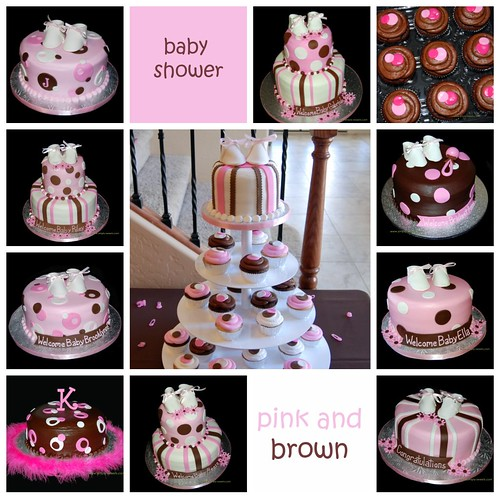 pink and brown baby shower cake and cupcakes