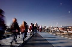 Uniformed Procession (Stu Meech) Tags: bridge motion blur london students st clouds walking nikon day stu sunny pauls millennium to 1855mm foreign filters meech cokin d40