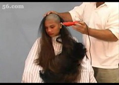 Forced girl headshave with razor