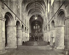 Hereford Cathedral (Interior, with Scott's Screen) (Cornell University Library) Tags: chairs wroughtiron cathedrals arches naves corbels candelabras ribbedvaults clerestories roodscreens cornelluniversitylibrary religiousinteriors herefordcathedralherefordengland culidentifier:value=155309001146 culidentifier:lunafield=accessionnumber