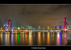 Willemsbrug (Part4) - Rotterdam (DolliaSH) Tags: city longexposure bridge light people urban haven streets holland color water colors skyline architecture night reflections river puente photography lights noche photo rotterdam europe cityscape foto nightshot photos nacht harbour nederland thenetherlands wideangle ponte explore most le pont brug maas brcke ultrawide nuit 1022mm notte stad 1022 architectuur willemsbrug noch zuidholland brucke rivier rotjeknor southholland 50d nachtopname manhattanaandemaas canoneos50d canon50d dollia dollias sheombar