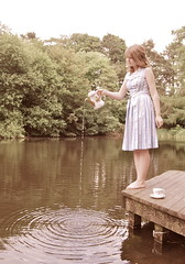5/365 Becca in Wonderland. (Katie Lionheart) Tags: water girl vintage becca pond dress teenager teapot ripples teaparty whaleybridge beccaparker rebeccaparker
