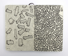 Moleskine 1 (Andy Gosling) Tags: wood abstract art moleskine sketch log pipes tubes logs twist sketchbook doodle stump swirl doodles weave stumps swirly interlace uniball signo interweave intertwine andygosling essexartists