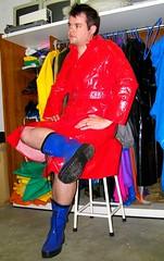 Red Coccoon raincoat & Blue rubberboots (Renjasman) Tags: red classic boots rubber raincoat rubberboots rainwear pvc rainboots