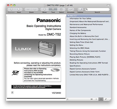 Panasonic TS2 / FT2 Manual