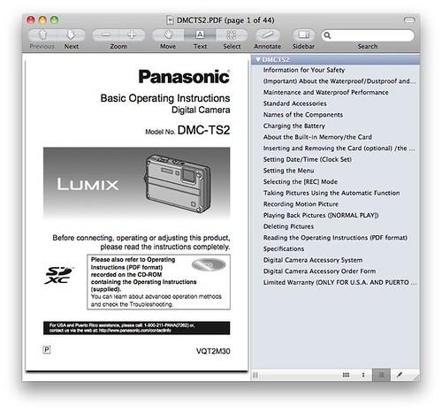 Panasonic TS2 / FT2 Manual