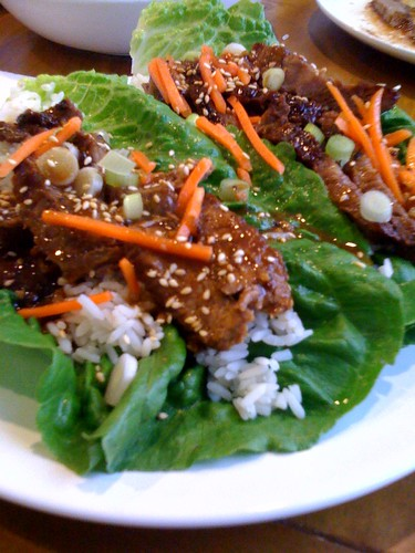 Korean BBQ beef lettuce wraps.  Yummy