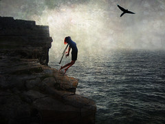 limitless (::fotorosso::) Tags: ocean cliff woman selfportrait bird fall texture me girl altered self freedom fly jump quote surreal falling quotes edge leap leaping soar dreamscape exhilaration 525oftwentyten 525of2010