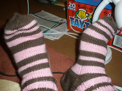 Woolly socks, knitted by my mam