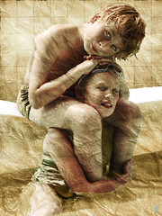 Rest on me ____ Repose-toi sur moi (vinciane.c) Tags: photoshop children gold evening bath digitalpainting painter
