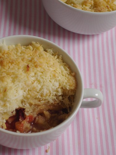 Plum and coconut crumble