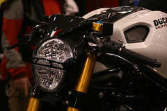 Custom Ducati Monster (Vinny D) Tags: nyc monster motorcycle sportbike ducati cycleworld motorcycleshow 696 jacobjavits ohlins pearlwhite m696