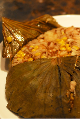 Fried rice with Seafood and diced chicken served in Lotus leaf (团圆荷叶饭) - DSC_1758